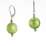 Grass green silver foil lined lentil earrings