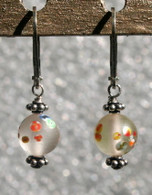 "Frosted clear ""millefiori"" glass earrings"