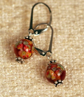 "Clear amber ""millefiori"" glass earrings"