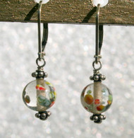 "Clear ""millefiori"" glass earrings"