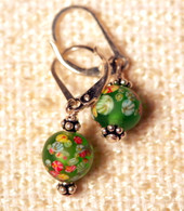 "Frosted grass green ""millefiori"" glass earrings"