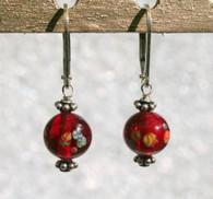 """Clear garnet red """"millefiori"""" glass earrings"""