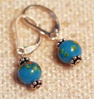 """Blue """"millefiori"""" glass earrings"""