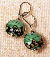 Mint green dichroic lampworked lentil earrings