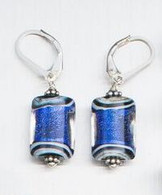 Cobalt blue dichroic lampworked rectangular shaped earrings