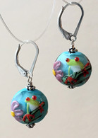 Frog lampworked lentil earrings