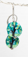Spring tree lampworked glass earrings