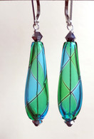 Aqua and emerald yin yang design drop shaped Murano glass earrings