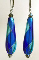 Cobalt and aqua yin yang design drop shaped Murano glass earrings