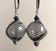 "Thin black striped Murano glass ""sasso"" earrings"
