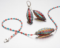 Madras blown and sculpted Murano glass, Nepalese glass and silver necklace
