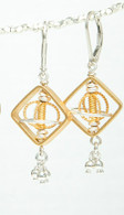 Gold vermeil and silver space window earrings with dangles