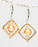 Gold vermeil and silver sphere and space window earrings