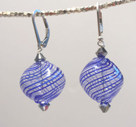 "Double cobalt and thin white striped Murano glass ""sasso"" earrings"