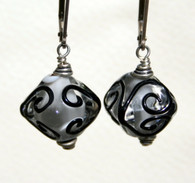 clear and black lampworked crystal shaped earrings