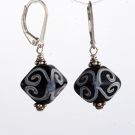 black and white lampworked crystal shaped earrings