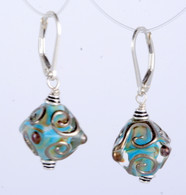 Aqua and amber lampworked crystal shaped earrings