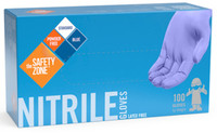 Lightweight, medical-grade nitrile rubber, 3 MIL Latex and powder free Chemical and puncture resistant Molds closely to hand for a great fit High touch-sensitivity Good for extended wear Long shelf life 100 gloves per box