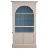 Cotswold Bookcase - white with faded teal back slats