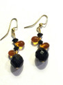 #A49 Black and Amber drop earrings $25.