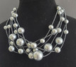 """#BN20  Always Elegant Necklace of  Multi Strands of Assorted Sizes of Light Gray Pearls separated with Small Dark Gray Glass Seed Beads 16"""" $158.  /  18"""" @ $165.  /  25"""" @ $ 175.   /32"""" @ $185."""