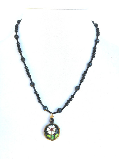 "#BN22 Beautiful Cloisonne Flower Pendant On a light weight and delicate strand of Onyx and Faceted Black Glass Beads   18"" @ $50.  20"" $55."