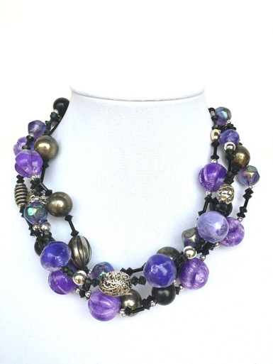 """#BN26 Necklace Multi-strands of Purple, black and silver make a vivid fashion statement!  (sizes available) 18"""" @ $150.  ---  20"""" @ $155.  --- 25""""  @ $ 158 --- 30"""" @ $ 160."""