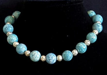 "#AN20   Large Turquoise Fossil Stones with Silver Etched Rosebud beads 18"" @ $65. ,  20"" @ $68. ,  25"" @ $75."