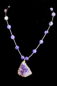 "#AN23 Unique Hand-Made Necklace One of a Kind Large  Rock Amethyst Wrapped in Gold Wire on a strand of Elegant Amethyst Beads Price  18"" @ $175.  ,20"" @ $178. , 25"" @ $185."