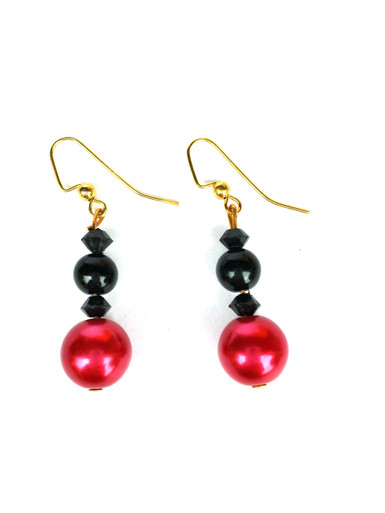 #A57 Earrings that are Flirty and fun, Vivacious Red and Black Onyx $25. Available in post, wire, or clip on