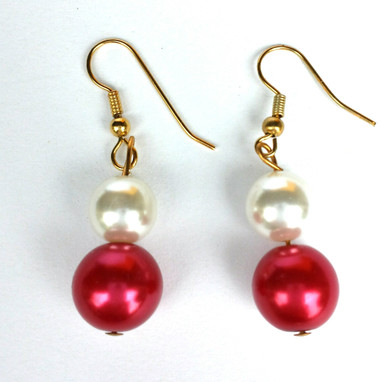 #A61 Vibrant Red and White Pearl Earrings $25