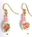 #E67Lovely Porcelain Earrings with a Flower Design, Pink accent beads $25.