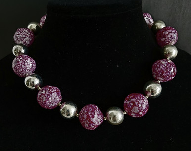 """# AN12  Large Unique Speckled Raspberry and Silver Beads, a Perfect Accent Accessory for any outfit  Price:  16"""" @ $75., 18"""" @ $78., , 25"""" @ $85., 30""""@98."""