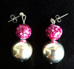 #A23 Fun Earrings with Speckled Raspberry Pattern and Large Bright Round Silver Ball Price $25.   All Earrings are available in Post, Wire, or Clip on