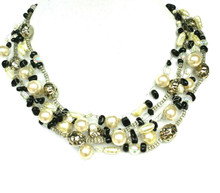 "#AN13  Multi Strands of onyx chips, tiny Crystal Beads, Pearls and Silver Hand Crocheted to make an Elegant Statement . 18"" @$155. , 20"" @ $160., 25"" @ $175."