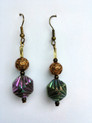 #A35 Iridescent Green and Gold Earrings $25. Available in Post, Wire or Clip on