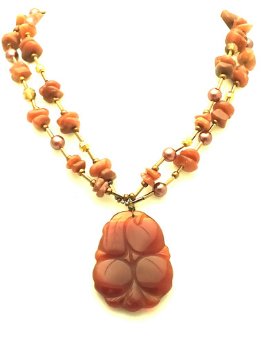 """#AN93 One  of a Kind Semi-Precious Carved Chinese Jasper Pendant on a double strand of Coffee colored Pearls and Jasper 18"""" long $165.  20"""" @ $168."""