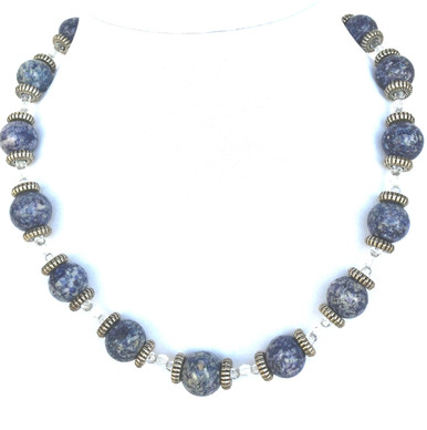 "#BN44 Blue Semi-Precious Fossil Stone, Etched Silver and Tiny Crystal Accents. This is a great accessory with sportswear. 18"" @ $65.  20"" @ $68. 25"" @ $75."