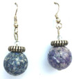 #A69 Dark Blue Fossil Stone Earring with Etched Silver and Tiny Crystal Accents $25.