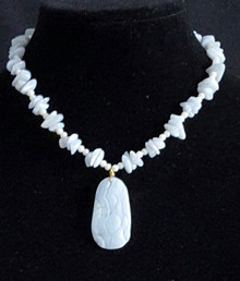 "#BN14  A very  feminine Necklace featuring a Carved  Semi-Precious Blue Lace Agate Pendant on a strand of delicate white pearls and Blue Lace Chips Price: 18"" @ $65., 20"" @ $70. 25"" @ $75."