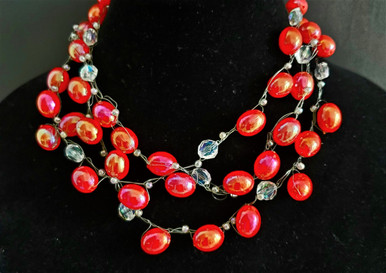"""#BN17 BRIGHTEN UP YOUR OUTFIT WITH THIS LIGHTWEIGHT HAND CROCHETED MULTIPLE STRAND CHOKER WITH RED GLOSSY BEADS AND CRYSTALS 18"""" @ $125.  , 20"""" @ $ 135. , 25"""" @ $155."""
