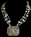 """#AN15  An Intricate  Vintage Shoe Buckle that designer Lois Becker used as a pendant hanging from multiple strands of Vintage etched silver, onyx and faceted crystal beads. . A wonderful Statement Accessory price:  18"""" @ $165.  ,  20"""" 168.  ,  25"""" $175."""