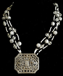 "#AN15  An Intricate  Vintage Shoe Buckle that designer Lois Becker used as a pendant hanging from multiple strands of Vintage etched silver, onyx and faceted crystal beads. . A wonderful Statement Accessory price:  18"" @ $165.  ,  20"" 168.  ,  25"" $175."