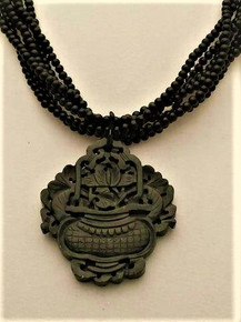 """#AN99 One-of-a-kind Gorgeous Dark Green Carved Jade Pendant with Multi Strands of Semi-precious Black Onyx beads  Price 18"""" @$ 175.   20""""  @ $180."""