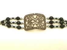"#Bl Bracelet  One -of-a kind Antique Silver Shoe Buckle with three strands of gray pearls and faceted black austrian crystal beads 7 1/2"" Long with Toggle Clasp, I will custom the sizes to order with small added charge. May also request magnetic clasp. $175."