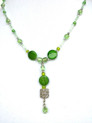 """#BN48  Lighweight very delicate and feminine necklace with interesting pendant of Etched Silver and Polished Dark Green Stones emphasized by faceted glass beads price $75.  length 18"""" at neck plus drop"""