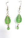 #A90 Green Frosted Glass Earring Wrapped in Silver Wire $35. Available in wire, post or clip on, please specify when ordering