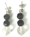 #A95 Hand made dressy earrings made with  Clear Crystal and Faceted Black hanging  Price $25.   May be ordered in Post, Wire, or Clip on specify when ordering