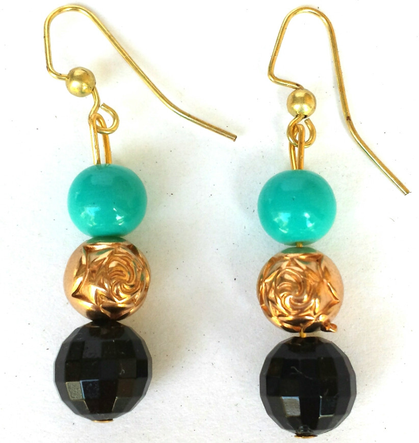 9987df39b17 Earrings Glistening Faceted Black Austrian Crystal with Gold Rosebud Beads  And Vivid Turquoise Glass Beads.A stunning color combination!