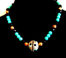 "#BN54 Handmade Choker with Intricate Inlaid Black, Gold and Turquoise Center Focal Bead, with Faceted Black, Rosebud Etched gold and Glass Turquoise accents  18"" @$125.,  20"" @ $135.  25"" @ $155."